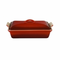 "Le Creuset 4 Qt. (12"" x 9"") Heritage Covered Rectangular Casserole - Cherry - PG0705-3367"