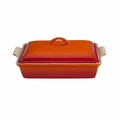"Le Creuset 4 Qt. (12"" x 9"") Heritage Covered Rectangular Casserole - Flame - PG0705-332"