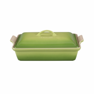 "Le Creuset 4 Qt. (12"" x 9"") Heritage Covered Rectangular Casserole - Palm - PG0705-334P"