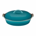 "Le Creuset 4 Qt. (14"") Heritage Covered Oval Casserole - Caribbean - PG0405-3617"