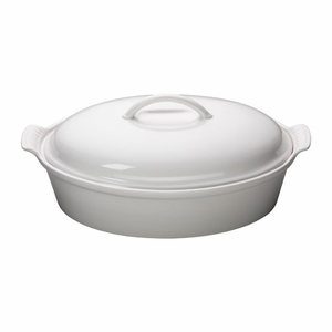 "Le Creuset 4 Qt. (14"") Heritage Covered Oval Casserole - White - PG0405-3616"