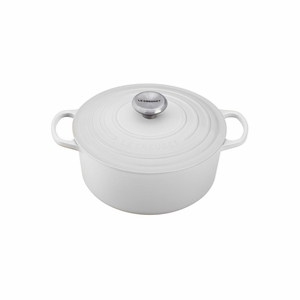 Le Creuset 5 1/2 Qt. Signature Round French Oven - White - LS2501-2616SS