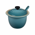 "Le Creuset 6 3/4 oz. (4"") Condiment Pot w/Spoon - Caribbean - PG0080CB-1017"
