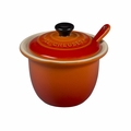 "Le Creuset 6 3/4 oz. (4"") Condiment Pot w/Spoon - Flame - PG0080CB-102"