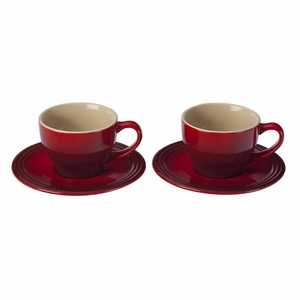 Le Creuset 7 oz. Cappuccino Cups and Saucers - Set of 2 - Cherry - PG8000-0567