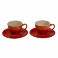 Le Creuset 7 oz. Cappuccino Cups and Saucers - Set of 2 - Flame - PG8000-052