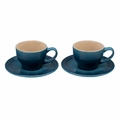 Le Creuset 7 oz. Cappuccino Cups and Saucers - Set of 2 - Marine - PG8000-056M