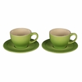 Le Creuset 7 oz. Cappuccino Cups and Saucers - Set of 2 - Palm - PG8000-054P