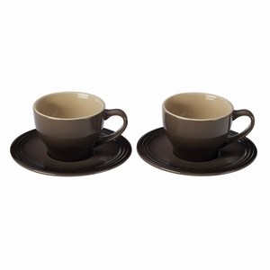 Le Creuset 7 oz. Cappuccino Cups and Saucers - Set of 2 - Truffle - PG8000-0527