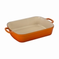 "Le Creuset 7 Qt. (12.8"" x 18.7"") Signature Large Rectangular Roaster - Flame - LS2011-372"