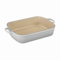 "Le Creuset 7 Qt. (12.8"" x 18.7"") Signature Large Rectangular Roaster - White - LS2011-3716"