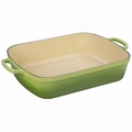 "Le Creuset 7 Qt. (12.8"" x 18.7"") Signature Large Rectangular Roaster - Palm - LS2011-374P"