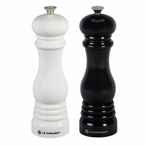 """Le Creuset 8"""" x 2 1/2"""" Salt and Pepper Mill Set - Black and White - MG610-BW"""