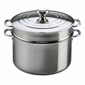Le Creuset 9 Qt. Stockpot with Lid & Deep Colander Insert - Stainless Steel - SSP3200-26