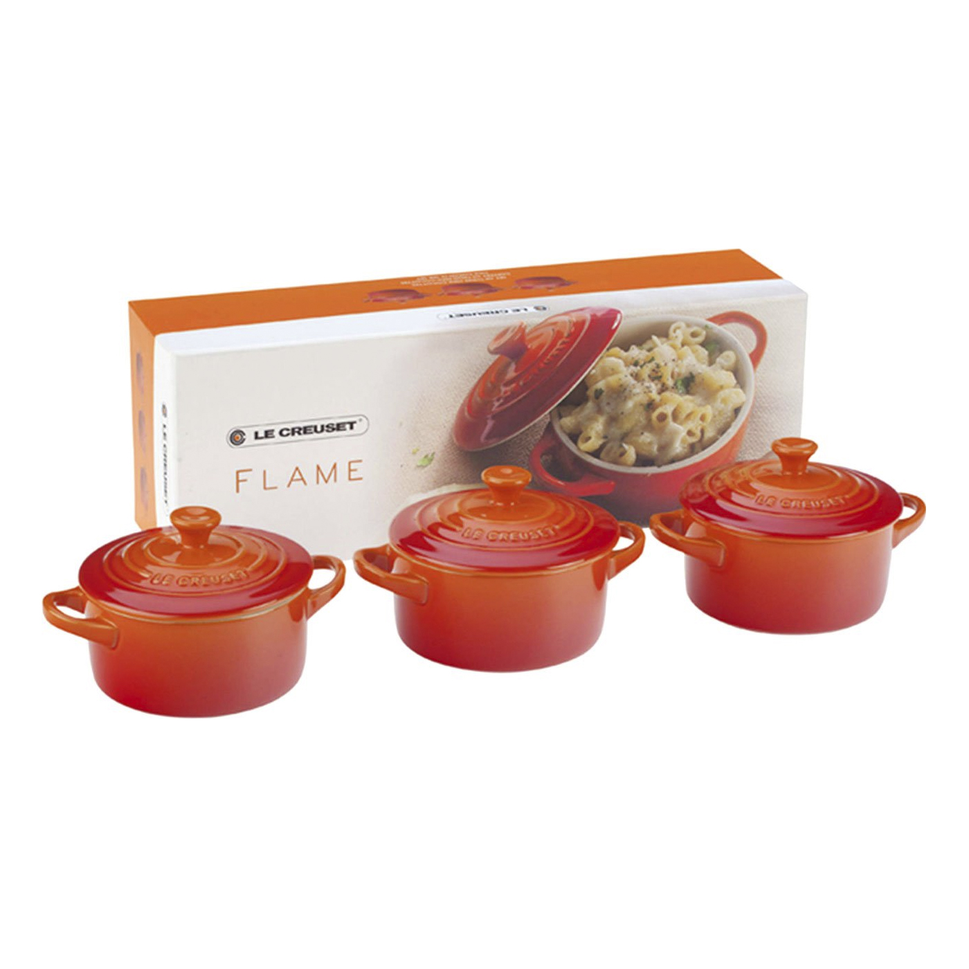 le creuset mini cocotte gift set set of 3 solids 8 oz each flame pg1163 082. Black Bedroom Furniture Sets. Home Design Ideas