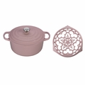 "Le Creuset Oasis Set: 4.5 qt. Round Dutch Oven & 9"" Deluxe Round Trivet - Hibiscus - MS1602-14SS"