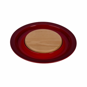 "Le Creuset 15"" Round Platter w/Cutting Board - Cherry - PG6390CB-3767"