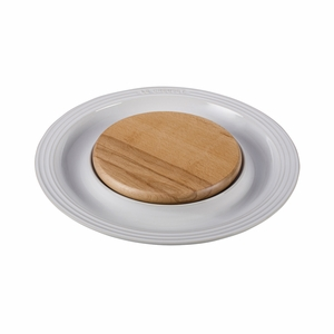 "Le Creuset 15"" Round Platter w/Cutting Board - White - PG6390CB-3716"