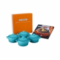Le Creuset Set of 4 Mini Cocottes with Mini-Cocotte Cookbook (8 oz. each) - Caribbean - PG1164CB-0817