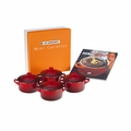 Le Creuset Set of 4 Mini Cocottes with Mini-Cocotte Cookbook (8 oz. each) - Cherry - PG1164CB-0867