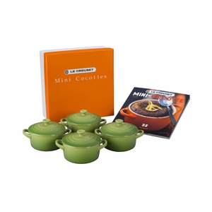 Le Creuset Set of 4 Mini Cocottes with Mini-Cocotte Cookbook (8 oz. each) - Palm - PG1164CB-084P