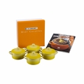 Le Creuset Set of 4 Mini Cocottes with Mini-Cocotte Cookbook (8 oz. each) - Soleil/Sun - PG1164CB-081M