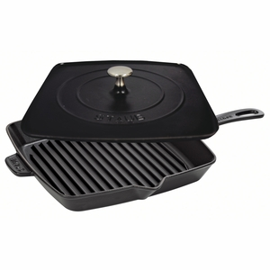"Staub American Square Grill - 12"" Grill/Press Combo - Black Matte - 1209923"