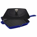 "Staub American Square Grill - 12"" Grill/Press Combo - Dark Blue - 1209991"