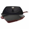 "Staub American Square Grill - 12"" Grill/Press Combo - Grenadine - 1209987"