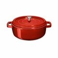 Staub Wide Round Shallow Cocotte - 4Qt - Cherry - 1112606