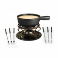 Swissmar Lugano 9Pc Cheese Fondue Set - Black Matte - KF-66513