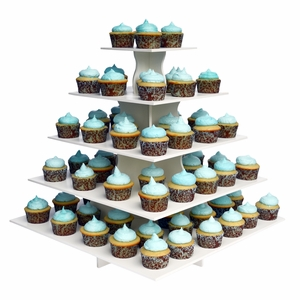 The Smart Baker 5 Tier Square PVC Cupcake Tower Stand - TSB4126