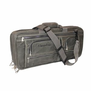 The Ultimate Edge Evolution 18-Piece Oil Waxed Canvas Deluxe Knife Case w/Accessory Compartment - Smoke - 2001-EDOWS