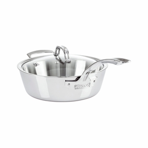 Viking Contemporary 3-Ply - 3.6 Qt. Saute Pan w/Lid + Helper Handle - Mirror Finish - 4013-3040
