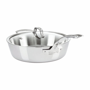 Viking Contemporary 3-Ply - 4.8 Qt. Saute Pan w/Lid + Helper Handle - Mirror Finish - 4013-3060