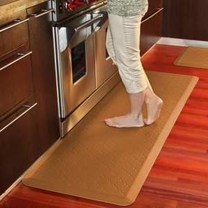 WellnessMats Motif Collection - Trellis - Tan - 6' x 2' - PMT62WMRTAN