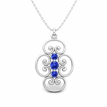 3 Stone Ceylon Sapphire Necklace in 14k Gold Heart Pendant