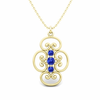3 Stone Ceylon Sapphire Necklace in 18k Gold Heart Pendant