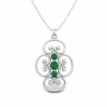 3 Stone Emerald Necklace in 14k Gold Heart Pendant