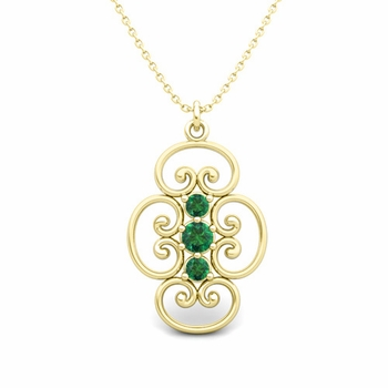 3 Stone Emerald Necklace in 18k Gold Heart Pendant
