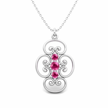 3 Stone Pink Sapphire Necklace in 14k Gold Heart Pendant