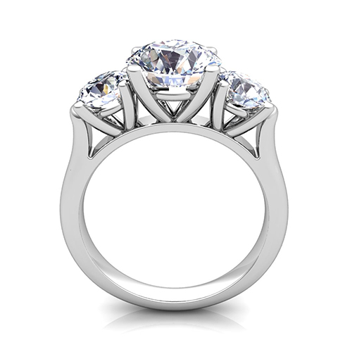 3 Stone Ring Setting In Platinum Without Diamonds