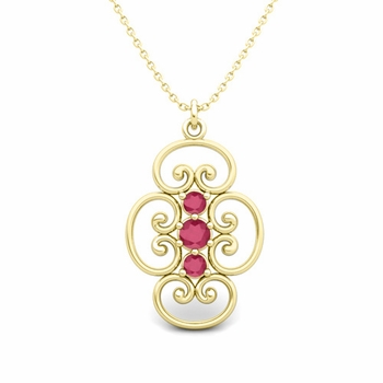 3 Stone Ruby Necklace in 18k Gold Heart Pendant