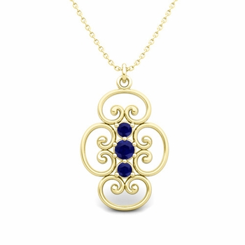 3 Stone Sapphire Necklace in 18k Gold Heart Pendant