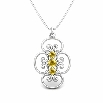 3 Stone Yellow Sapphire Necklace in 14k Gold Heart Pendant