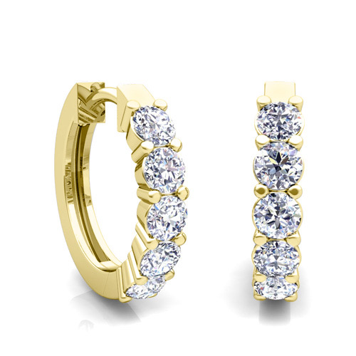 5 Stone Diamond Hoop Earrings