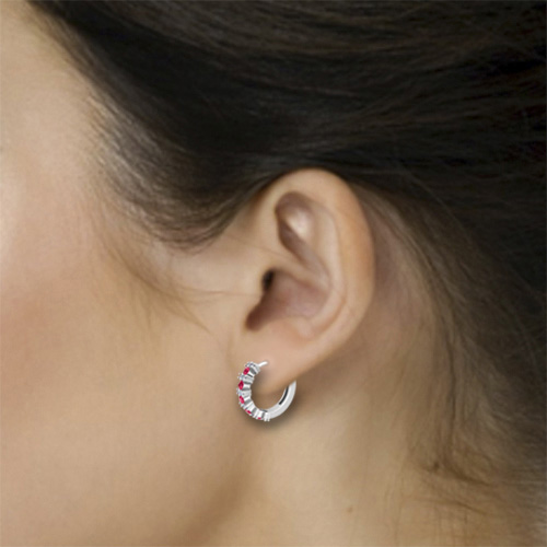 Order Now Ships On Friday 12 21order In 14 Business Days 5 Stone Ruby And Diamond Hoop Earrings