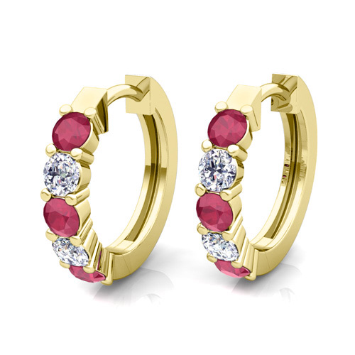 Order Now Ships On Friday 12 21order In 14 Business Days 5 Stone Ruby And Diamond Hoop Earrings 14k Gold Hoops
