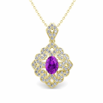 Art Deco Inspired Diamond and Amethyst Necklace in 18k Gold 7x5mm