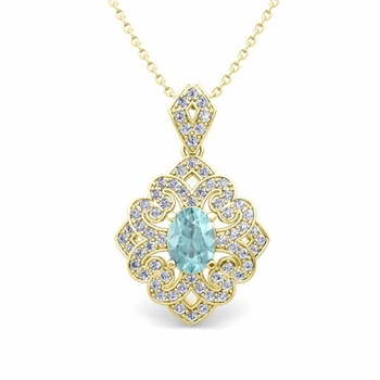 Art Deco Inspired Diamond and Aquamarine Necklace in 18k Gold 7x5mm